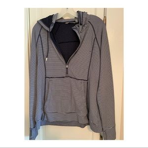 Navy Blue Stripe Hooded 1/3 Zip Hoodie ATHLETA L